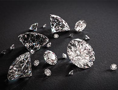 Shiny diamonds on black background